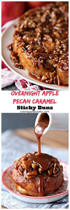 Overnight Apple Pecan Caramel Sticky Buns from cravingsofalunati.- This sticky bun recipe perfectly combines apples, pecans and caramel for the most amazing breakfast you will ever eat. ( of a Lunatic) Caramel Recipes, Apple Recipes, Fall Recipes, Sweet Recipes, Baking Recipes, Dessert Recipes, Sticky Buns, Bun Recipe, Breakfast Dishes