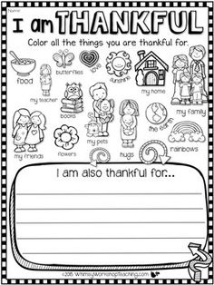 I Am Thankful FREE Writing About Gratitude - Whimsy Workshop Teaching 1st Grade Writing, Kindergarten Writing, Writing Activities, Preschool Activities, Literacy, Preschool Worksheets, Thanksgiving Writing, Thanksgiving Preschool, Thanksgiving Worksheets