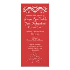 Elegant Flourish Coral Peach Wedding Programs