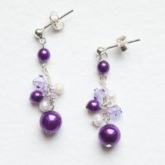 Mauve Cluster Earrings