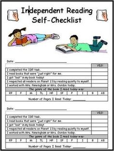 Check list for students for readers workshop