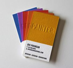 Business cards for a painter inspired by the Pantone Universe paint chips at home improvement stores. Designed by James Prunean for his brother, Ovi.