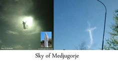 Blessed Mother image and Cross image in sky of Medjugorje