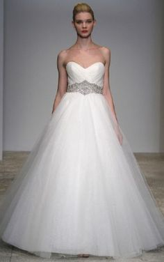 KENNETH POOL COLLECTION AMOUR  Tulle. Strapless tulle A-line gown with sweetheart neckline and jewel-encrusted natural waist  http://www.kennethpool.com