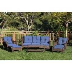 Darby Home Co Herrin 6 Piece Wicker Seating Group with Cushions Fabric: Midnight Blue, Frame Finish: Espresso