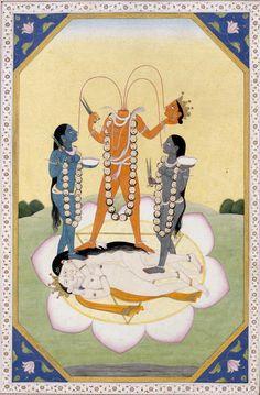 Chinnamasta From a Tantric Devi Series, Guler workshop, Punjab Hills , India , c. Opaque watercolour and gold on paper Om Namah Shivaya, Kali Goddess, Oriental, Shiva Shakti, Hindu Deities, Drawing Projects, Gods And Goddesses, Indian Art, Surrealism