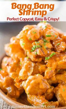 Bang Bang Shrimp from the Bonefish Grill is crispy, creamy, sweet and spicy with just a few ingredients and tastes just like the most popular appetizer on the menu. recipes Bonefish Grill Bang Bang Shrimp (Copycat) - Dinner, then Dessert Hooters Buffalo Shrimp Recipe, Buffalo Shrimp Recipes, Seafood Recipes, Dinner Recipes, Spicy Shrimp Recipes, Thai Sweet Chili Shrimp Recipe, Chinese Shrimp Recipes, Sweet And Spicy Shrimp, Baked Shrimp