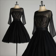 ➳ vintage 1950s dress * black chiffon crepe /lace * acetate lined bodice * acetate/tulle lined skirt * 3/4 sheer sleeves * detached belt