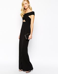 Solace London Cara Off Shoulder Wrap Maxi Dress with Cut Out - Off-shoulder crossover neckline