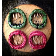 """Fingertrap Plugs under 1"""" ❤ liked on Polyvore featuring home, home decor, white home decor and handmade home decor"""
