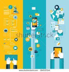 Set of flat design vector illustration concepts for website layout, mobile phone services and apps, and computer tablet services and apps. Concepts for web banners and printed materials. - stock vector