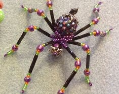 Beaded Spider Ornament | Etsy Metal Beads, Silver Beads, Ceramic Christmas Tree Lights, Christmas Spider, Beaded Spiders, Ring Tutorial, Steampunk Accessories, Decorative Hooks, Beaded Skull