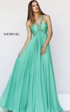Green Empire Waist Dress with Chic V Strap by Sherri Hill 11072Outlet