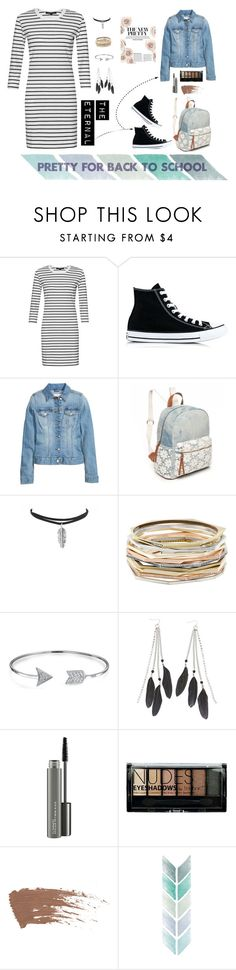 """Pretty for back to school"" by fashionsberries ❤ liked on Polyvore featuring French Connection, Converse, Red Camel, Kendra Scott, Bling Jewelry, Charlotte Russe, MAC Cosmetics and Boohoo"