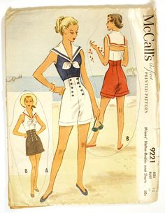 McCall's 9221 - 1950s Nautical Playsuit Pattern.  Extremely rare.