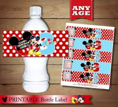 MICKEY MOUSE Water Bottle Wrapper Red and by ThePrintableOccasion