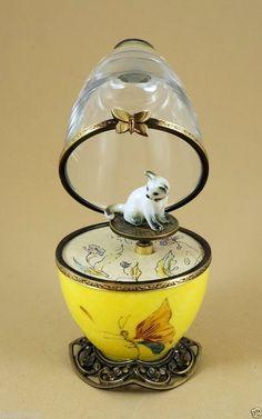 PLAYS MUSIC BOX FRENCH LIMOGES BOX PORCELAIN & CRYSTAL EGG W/ SIAMESE CAT KEY  iandrtravel ebay.com  I&R Gifts International
