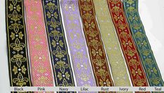Jacquard Ribbon 1 Fleur De Lys Royale *Colors* Priced Per Yard Pattern Art, Ribbons, Bohemian Rug, Panda, Craft Projects, Gift Wrapping, Colors, Lace, Hot