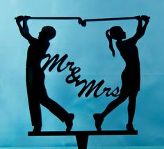Golfing wedding cake topper   Mr. and Mrs. by CakeTopperConnection