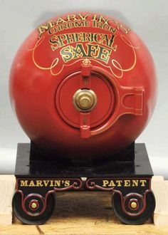 Marvin Chrome Iron Spherical Mini-Cannonball Safe-1865. Marvin Safe Company was the first maker of the cannonball safes. Weighs approximately 1,300 pounds. Size 27x22x22-$10,000