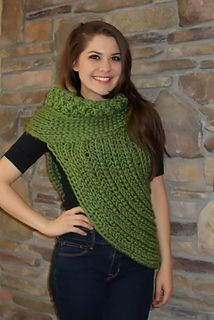 MADE TO ORDER Cross Body Cowl 20 colors available! Over Shoulder Sweater, Asymmetrical Sweater, Chunky Cowl Sweater, from Made With a Twist. Crochet Vest Pattern, Crochet Cardigan, Crochet Scarves, Crochet Shawl, Crochet Clothes, Crochet Baby, Knit Crochet, Crochet Patterns, Crochet Capas