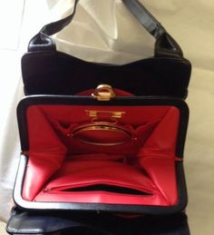 Lou Taylor All Leather Handbag Made In Italy Vtg Classic Red And Blue Leather