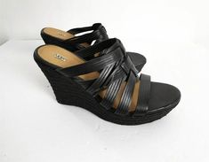 Ugg Sandals Size 10 M Black 4 inch Wedge Heels Shoes Ankle Strap Wedges, Shoes Heels Wedges, Leather Wedge Sandals, Black Sandals, Wedge Heels, Black Shoes, Ugg Sandals, Cork Sandals, Slipper Sandals