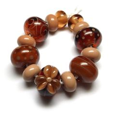 Beads By Laura: Lampwork glass 'Pecan Pie' beads by Laura Sparling