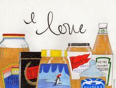 I love mustard by Ileana Perez-Monroy Gouche Illustration.