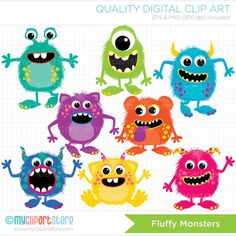 Fluffy Monsters Clip Art / Digital Clipart by MyClipArtStore Felt Monster, Monster Book Of Monsters, Cute Monsters, Monster Party, Little Monsters, Alphabet Party, My Singing Monsters, Monster Classroom, Monster Clipart