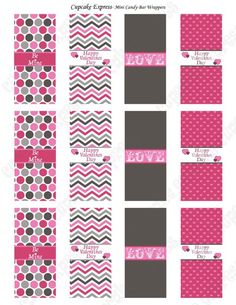 Free printables for mini-candy bar wraps ... more party printables at link