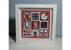"""Patriotic Sampler by Karen Page -  8"""" x 8"""" scrapbook frame from my local craft store and nine 1-3/4"""" squares to create the sampler.  The squares are on a 6"""" square of Crumb Cake DSP which is layered on a 6.5"""" square of Real Red CS.   The letters were cut using the Typeset Alphabet Bigz Die.  Then various other products to create the remaining squares, drawing some inspiration from other samplers posted on Pinterest.  Stampin' Up!"""