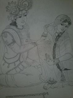 Pencil sketching of radha krishna