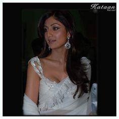 #Shilpa Shetty in a White saree