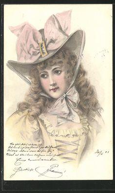 old postcard: AK Portrait einer jungen Frau mit Hut