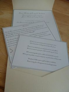 Wallet style invitation, available as a Day and Evening Invitation. Comes with Travel Information and RSVP card for £1.75. Gift poem cards can be made to match and added for an extra £0.50.  www.facebook.com/designedwithlove2012