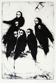 Black and white etching print. Strange original by BeMyNightbird