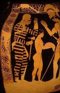A Skythian warrior on an Attic Red-Figured Amphora of 500 BCE.