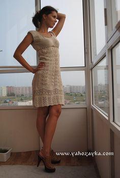 Летнее платье спицами с описанием. Как вязать спицами стильное женское платье. | Я Хозяйка