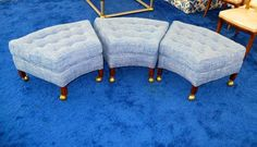 Group of Three Trapezoidal Ottoman on Casters | From a unique collection of antique and modern ottomans and poufs at https://www.1stdibs.com/furniture/seating/ottomans-poufs/