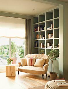 Decoración casas, Home Living Room Designs, Living Spaces, Room Interior, Interior Design, Sweet Home, Living Room Green, Cozy Place, Shelving, Family Room