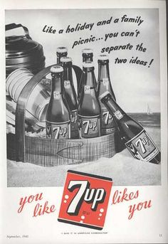 1945 7Up Ad Picnic at the Beach by Adlady45, via Flickr