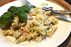 pastafad med porre og skinke - nem aftensmad!