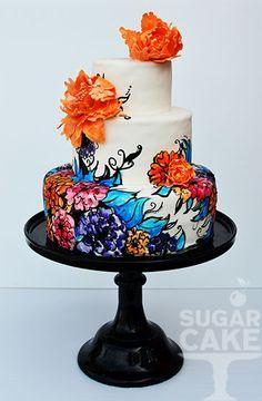 Gorgeous hand painted Peony Wedding Cake ~ sugar peonies ~ all edible Gorgeous Cakes, Pretty Cakes, Amazing Cakes, Round Wedding Cakes, Cool Wedding Cakes, Cupcakes, Cupcake Cakes, Hand Painted Cakes, Cherry Cake