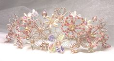 Dusky pink beaded floral tiara on silver band by ExclusiveTiaras, £80.00