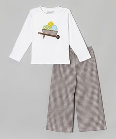 Look what I found on #zulily! White & Chocolate Tee & Pants - Infant, Toddler & Boys by Carter Rabbit Blanks #zulilyfinds