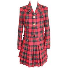 Gianni Versace Wool Set Dress Tartan Red Jacket and Flared Skirt 1990
