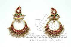 Indian Jewellery and Clothing: Antique temple designs of jhumkas made of dull gold and studded with rubies and emeralds Hyderabadi Jewelry, Temple Design, Temple Jewellery, Gold Jewellery, Gold Jewelry Simple, Bollywood Jewelry, Gold Earrings Designs, Personalized Jewelry, Indian Jewelry