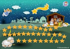 * Zoek het Kerstkind! 1-2 Ga als herder op zoek naar het Kerstkind. De spelers gooien om de beurt met de dobbelsteen en zetten hun herder zoveel stapjes vooruit als het aantal dat ze gooien. Wie is het eerst bij het Kind in de stal. Bij een ster met een straal weet je extra goed de weg en mag je naar de ster aan het eind van de straal.
