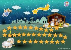 Zoek het Kerstkind, spelbord op A3 voor kleuters, thema kerst, juf Petra kleuteridee, free Nativity gameboard, go to the stable and find jesus. free printable.